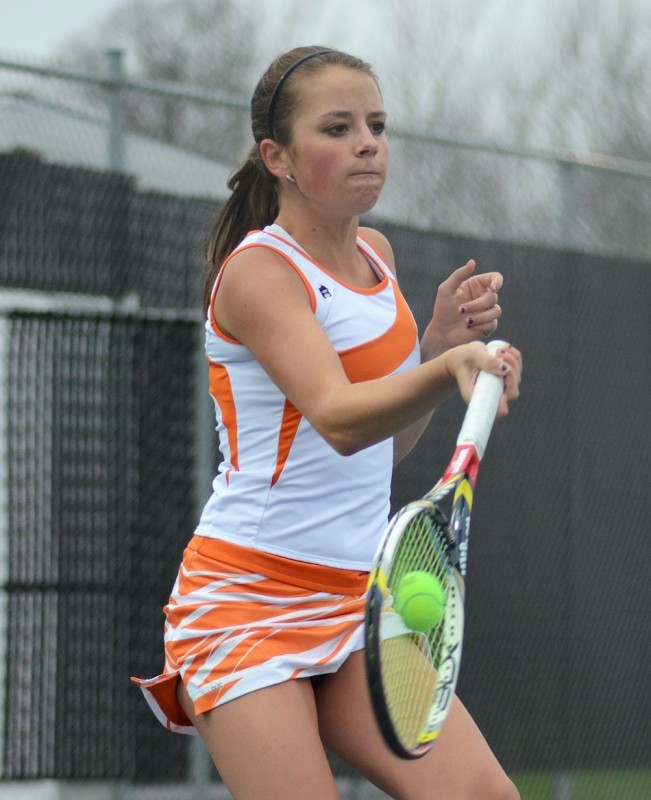 Warsaw No. 1 singles player Sarah Boyle competes in a match earlier this season. The host Tigers open sectional play Wednesday at home versus Columbia City (File photo by Jim Harris)