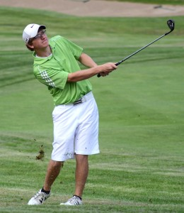 Tanner Neeley of Tippecanoe Valley takes aim at an approach shot.