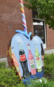 This apple, commissioned by Veni's Sweet Shop, was painted by Stillson and is visible downtown Nappanee.  (Photo by Stillson Studios)