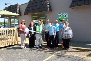 Front row (left to right): Lori Bolyard, Beacon Credit Union and Chamber Ambassador; Cindy Dobbins, Warsaw City Council; Kim Frauhiger, Froggy's Owner; Charity Cordill, Froggy's Manager; and Joni Truex, Builder's Association Kosciusko Fulton Counties and Chamber Ambassador. Back row (left to right):  Emerson Poort, Beauchamp & McSpadden and Chamber Board Member; Renea Salyer, Member Relations Coordinator Warsaw Kosciusko County Chamber; Mark Dobson IOM, President & CEO Warsaw Kosciusko County Chamber; Rick Kerlin, Kerlin Motors and Chamber Board Member; and Jane Wear. Cardinal Services and Chamber Board Member.  (Photo provided)
