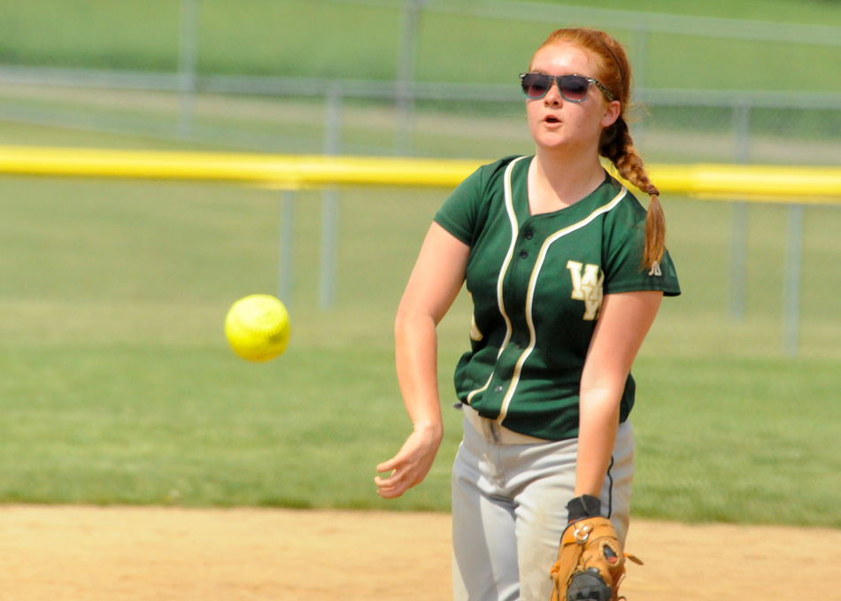 Wawasee's Alexis Graber had a monster Wawasee JV Softball Invite Saturday, picking up two wins as well as adding six hits and four RBIs in two wins against Central Noble and Triton for the title. (Photo by Mike Deak)