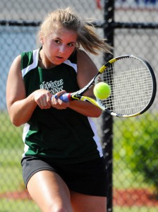 Wawasee one singles player Esther Hermann locks in.