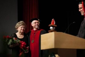 Dr. Ronald and Barbara Manahan receiving several recognitions from the Grace College & Seminary Board of Trustees.  (photo provided)