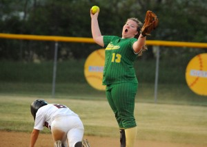 Mariah Benzing celebrates after one of Tippecanoe Valley's three double plays.