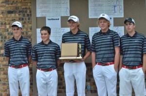 The NorthWood Panthers pose with its NLC trophy after clinching a tie with Warsaw for the boys golf crown.