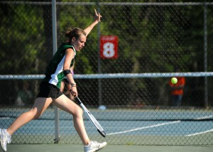 Sam Prins of Wawasee signals the ball out of bounds during the match against Plymouth.
