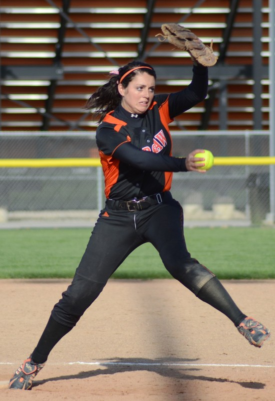 Warsaw ace Kaleigh Speicher fires a pitch during an 8-5 NLC win over Concord Monday night (Photos by Jim Harris)