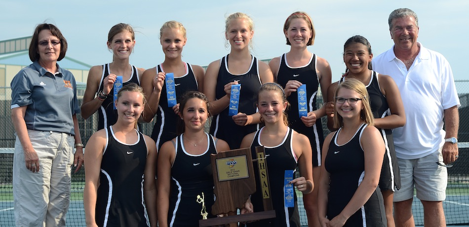 The Warsaw girls tennis team made it 13 straight sectional championships for the program Friday night by defeating Wawasee 4-1in the title tilt at WCHS (Photos by Jim Harris)