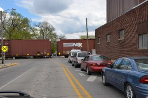 Cars are backed up all along train crossings downtown Warsaw causing congestion all along SR 15. (photo by Alyssa Richardson