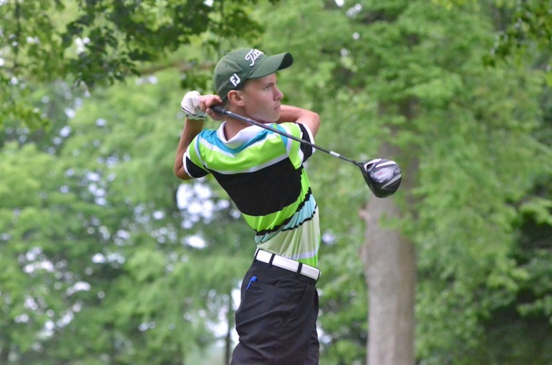 Wawasee senior Dylan Cousins watches his tee shot during the Fairfield Sectional Saturday (Photos by Nick Goralczyk)