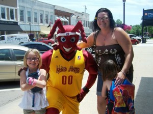 Rylie Penrod, Fort Wayne Mad Ants Mascot, poses with Jennifer Schulien with Brookelynn Penrod. (photo provided)