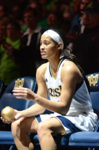 Former South Bend Washington and Notre Dame star Skylar Diggins will return to Indiana Friday night as a rookie for the Tulsa Shock of the WNBA (File photo by Scott Davidson)