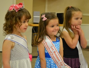 From left are preschool division pageant winners McKinley Burton, first runner-up Bella Gonzalez and second runner-up Ava Wood. (Photos and video by Stacey Page)