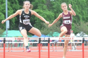 Jackie Ferguson competed in the prelims of the 300 hurdles for Warsaw at the State Finals.