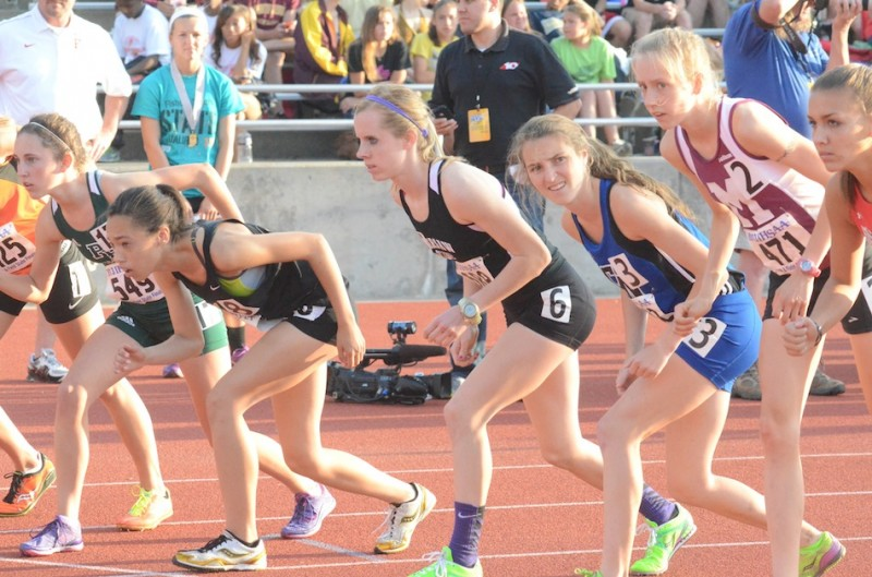 Sarah Ray prepares for the start of the 3,200 at the State Finals Saturday. The Warsaw senior placed 11th in the race.
