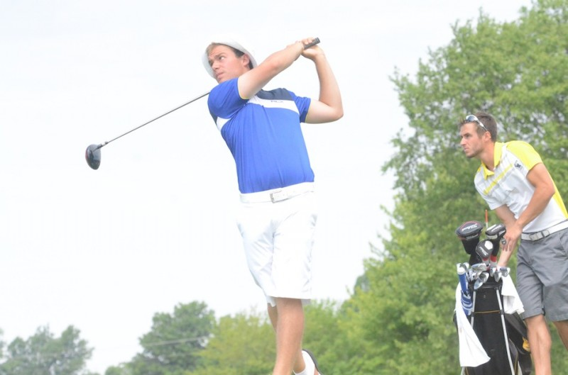 Triton star Ryan Rapp follows his tee shot during play at the State Finals in Franklin Wednesday. Rapp shot a four under par total of 140 to place fifth in the state (Photos by Scott Davidson)