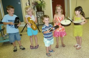 These lively youngsters enjoyed playing along with instruments at the library's music show on Wednesday, June 12. (From left) Hank Yarger, Ella Yarger, Everett Guy, Zaylee Guy and Evalyn Blanco. (Photo provided)