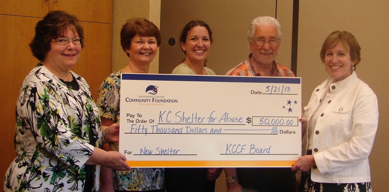 The Kosciusko County Community Foundation surprised the Beaman Home Board of Directors at their May meeting with a matching grant challenge of $50,000. From left: Suzie Light, KCCF executive director; Sue Creighton, BH board vice president and campaign co-chair; Tracie Hodson, BH executive director; Hal Harting, BH board president; and Zoe Howard, KCCF board member. (Photo provided)