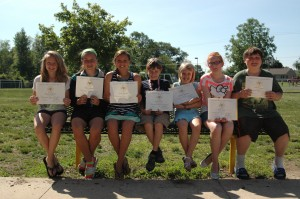 """Students maintaining at least an A- in all subjects from kindergarten through fifth grade, as well as a """"pass plus"""" on ISTEP earned a President Academic Award. These students are, from left, fifth graders Aundreya Wegener, Rhian Galloway, Grace Morrison, Mason Brown, Rebekah Whirledge, Anna Clark and Carter Bowman."""