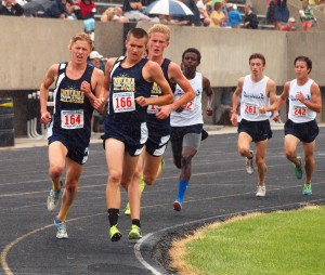 Former Warsaw star Jake Poyner (far left) led a 1-2-3 sweep of the 3,200 by winning the event Saturday at the Midwest Meet of Champions in Fort Wayne (Photos provided by Tim Creason)