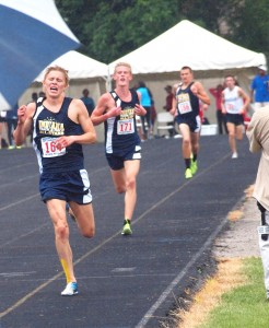 Former Warsaw distance star Jake Poyner, shown winning the 3,200 at the Midwest Meet of Champions June 15 in Fort Wayne, placed ninth in the 1,500 Saturday at the USA Junior Outdoor Track and Field Championships in Iowa (Photo provided by Tim Creason)