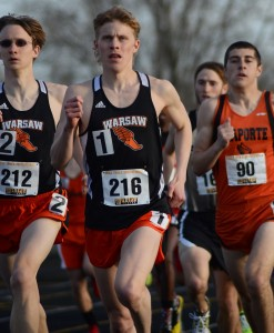 Warsaw distance stars Jake Poyner and Robert Murphy, shown competing together earlier this season, will represent Indiana in the Midwest Meet of Champions Saturday in Fort Wayne (File photo by Jim Harris)