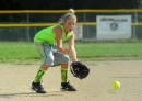 Caleigh Gunkel of the Lil' Warriors prepares to field a grounder.