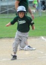 Gavin Malone of the Sand Gants rounds third during his inside-the-park home run.