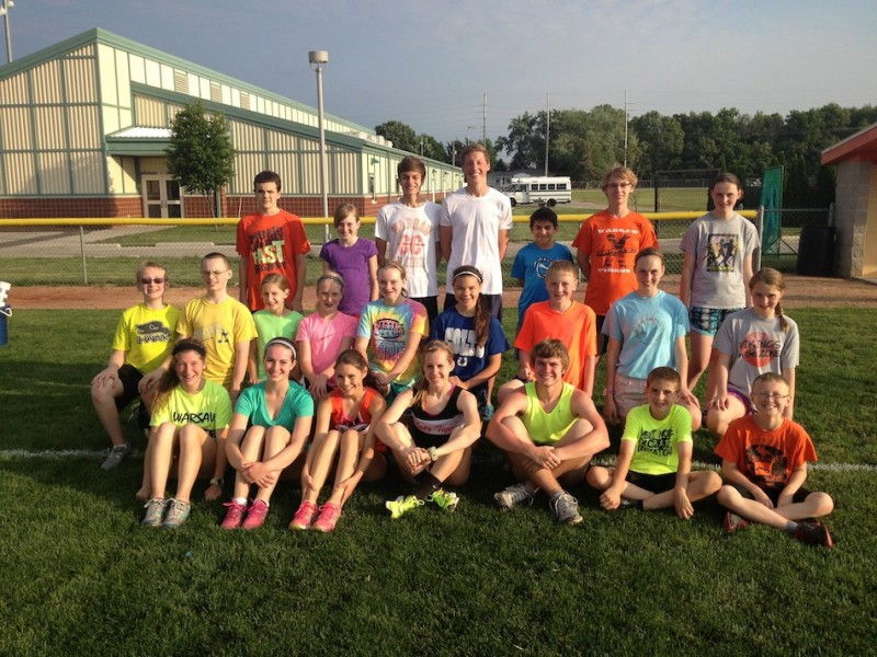 Campers from the Warsaw Blue Ribbon Distance Camp held Thursday are pictured (Photo provided by Matt Campbell)