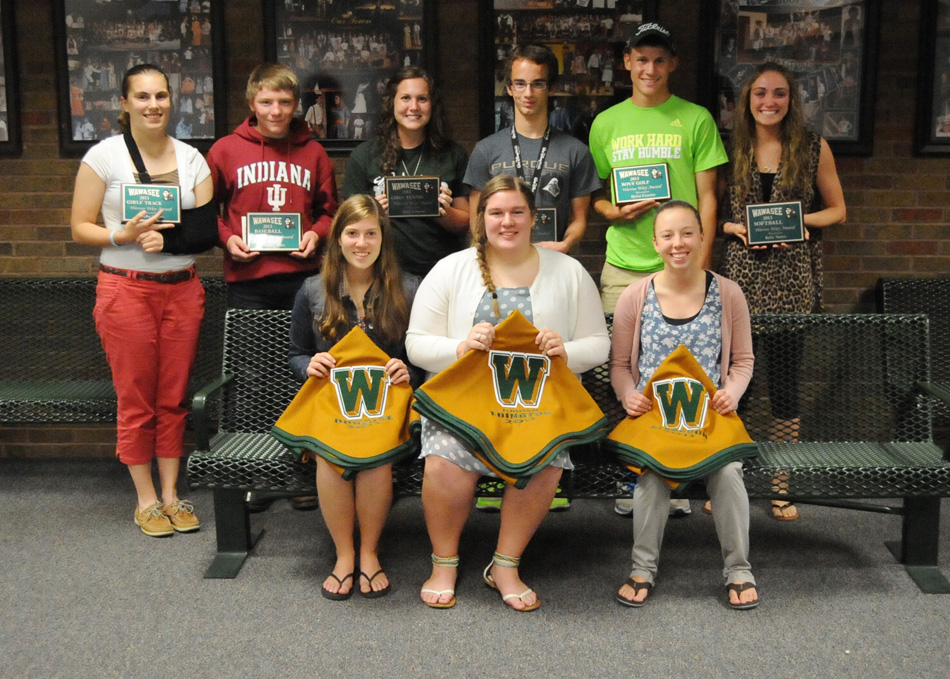 Wawasee High School announced its award winners for its spring sports, including blanket and Warrior Way recipients. In the front row are blanket winners Emma Donahoe, Jordan Edington and Jen Slabaugh. In the back row are Warrior Way winners Shelby Swartz, Bailey Yoder, Katy Ashpole, Austin Krizman, Dylan Cousins and Kylie Norris. (Photo by Mike Deak)