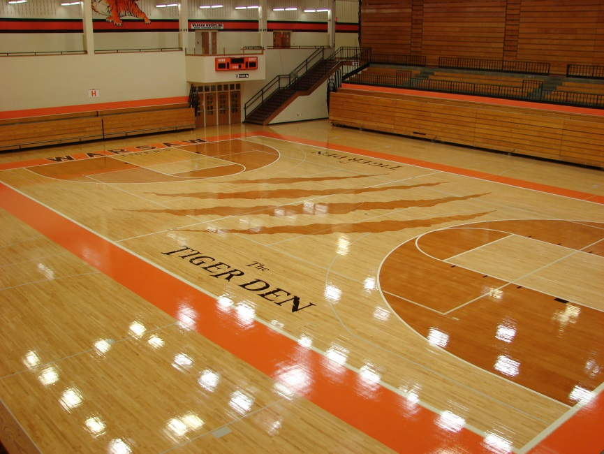 The hardwood floor of the WCHS Tiger Den received a facelift this summer. (Photo courtesy of Tiger Sports Nation)
