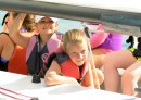 Junior sailors Josie Pobanz (left) and Natalie Morris enjoy the ride on the E-Scow.