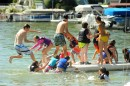 Wawasee Junior Sailors take time to enjoy a raft during a sailing session.
