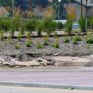 The bricks of the Zimmer Road roundabout in Warsaw is crumbling less than a year after completion.