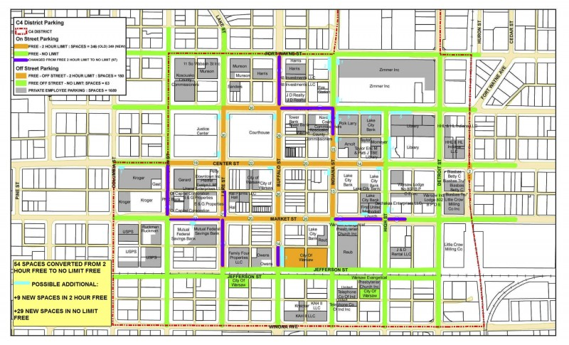 A color-coded map shows proposed areas where parking changes could be occurring in downtown Warsaw.