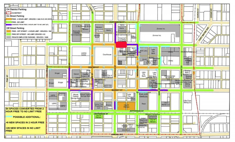 Warsaw's parking rules are changing as outlined in this map. The only change to the original plan is noted in red. Tower Bank has requested the angled parking north of the building be left at 2-hour parking to accommodate its customers.