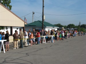 During the 2012 Tools for Schools giveaway, hundreds lined up to take part in the annual event. (File photo)