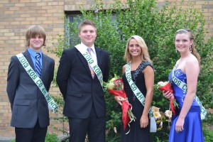 The Kosciusko County 4-H royalty was named on Tuesday night. Pictured, from left are Cody Demske, 4-H Prince; Jake Templin, 4-H King; Kristin Quick, 4-H Queen; and Hannah Tucker, 4-H Princess. (Photo by Dani Molnar)