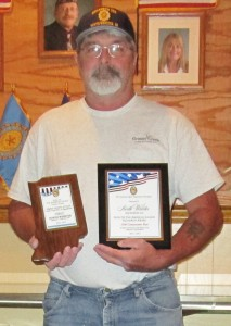 Sons of American Legion Commander Rick Hagan and awards presented to North Webster American Legion Squadron 253 at the Detachment convention for the state organization. (Photo provided)