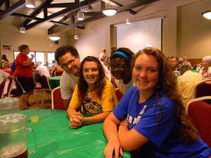 Campers come to Indiana Deaf Camp from all over the United States and the world. Pictured from left are campers Kalvin Dowdy, Akron, Ohio; Hannah Jezerski, Pittsburgh, Pa.; Athisi McGinnis, Toledo, Ohio; and Sabrina Owens, Columbus, Ohio.