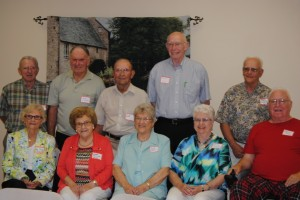 Class of 1953 — The honored class of 60 years at the North Webster High School alumni banquet were (from the left) front row, Sue Ferverda Niles, Norma Kaufman Moser, Lorena Marchand Karst, Donna Barnhart Leonhard and Daryle Hill. In the back were Ray Biltz, Bob Likens, Nub Niles, Jerry Rhodes and Lewis Neibert.  (Photo by Martha Stoelting)