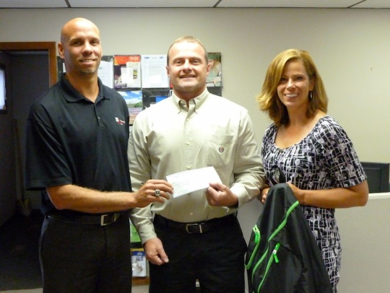 The recent Warsaw Kosciusko County Chamber of Commerce golf outing raised over $700 for the Tools for Schools program. Shown above presenting the proceeds (from left) are Mike Miller, golf outing committee chairman from  DJ Construction, Steve Possell of Combined Community Servies and Renea Salyer, Chamber Member Relations Coordinator (Photo provided)