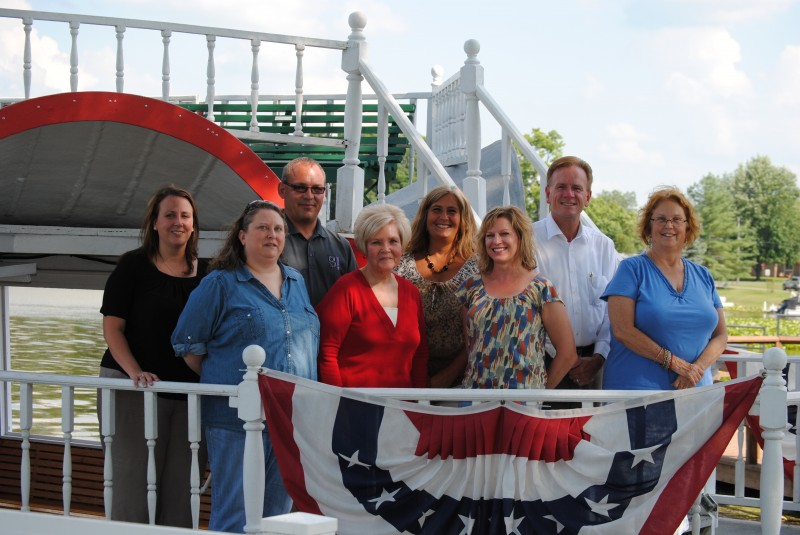 Members of the Dixie Days Committee on board the Dixie sternwheeler are, from the left, first row, Jen Ducey, Karilyn Metcalf, Michelle Reedy and Martha Stoelting. In the back are Stacey Cox, David Colquitt, Sue Ward and Richard Owen. Not present were Brenda Peterson, Linda Land and Tonya Bowser. (Photo by Steve Ward)