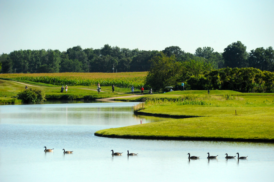 Golfers make their way to the 9th tee at Stonehenge during play at the AJGA Stonehenge Jr. Open.