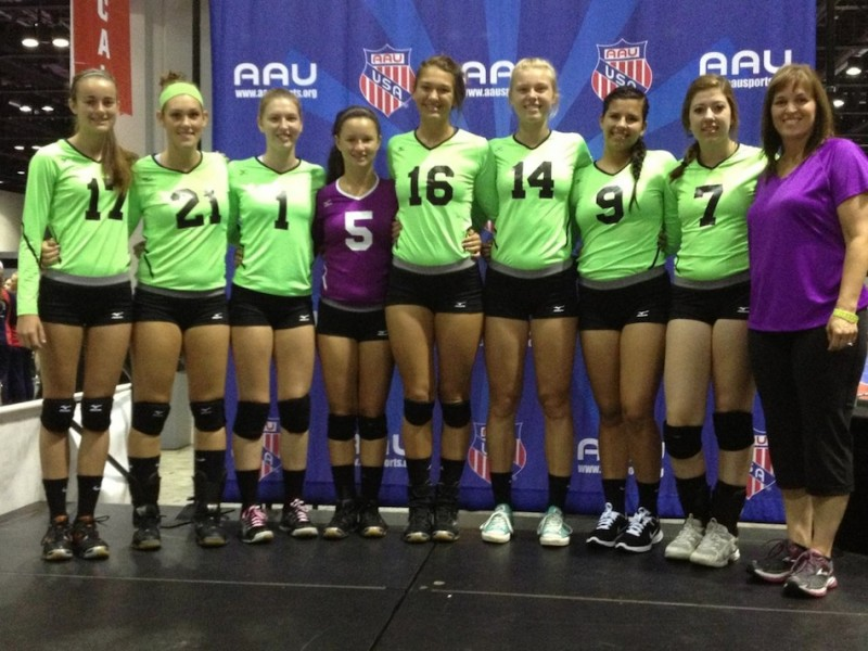 A volleyball team from the Outland Volleyball Club in Warsaw placed 22nd at the recent AAU Jr. Nationals. Members of the team, coached by Tricia Howard, are shown above (Photo provided by Pam Price)