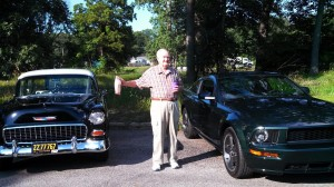 Gardens at Lake City resident Russel Carson enjoyed the cruise-in car show held Wednesday for the residents of the senior living community. (Photo provided)