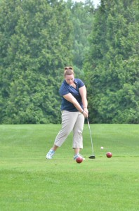 Kirsten Crawford of Whitko tees off on South Shore's second tee.