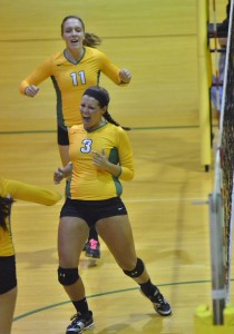 Valley's Kelsey Ball celebrates one of her 11 kills against Wawasee.