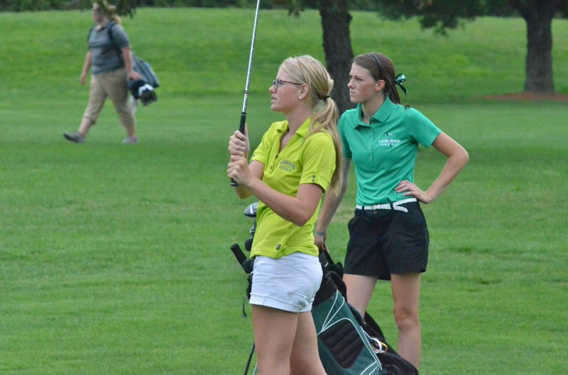 Wawasee's Courtney McDaniel and Concord's Olivia Kauffman both look on with uncertainty at McDaniel's shot on number nine Thursday evening. Both players finished with a 52. (Photos by Nick Goralczyk)