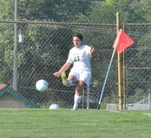 Sophomore Savannah Schwartz recorded an assist with this kick as Caitlin Clevenger would score for Wawasee.